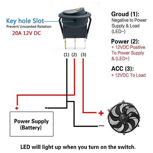 Interruttore a bilanciere rotondo interruttore a bilanciere a led a 12 V Pulsante ON//OFF interruttore SPST