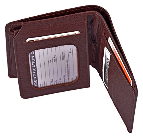 ES Trader Mens Luxus echt Original Leder weichen Qualität Brieftasche Bifold Münze Tasche, AA0017, 12 cm, braun braun