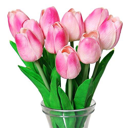 turelifes Künstliche Tulpen, einzelne Stiele, fühlen sich echt an, PU-Kunststoff, Dekoration für zu Hause, 10Stück