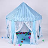 Wadwo Kinder Spielzelt Rosa Welle Punktmuster und blau gestreiftes Muster Prinzessin sechseckigen Spiel Haus faltbar (Nicht einschließlich Ocean Ball) -by Virtper (Farbe : Blau)