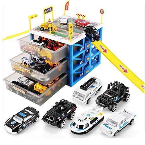 (Parkplatz Spielzeug Set, Kinder Spielzeug Garage Spielset, Auto Parkhaus DIY Modell Puzzle Montage Spielzeug, Geschicklichkeitsspielzeug, für Kinder Jungen Mädchen, Auto Spielzeug (6 Autos))