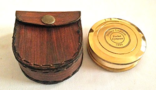 Antiqued Brass Poem Compass With Leather Case 50% OFF Antiques Maritime