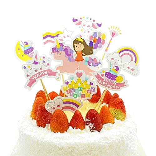 Dire-wolves Einhorn Cake Topper, 10 Stuck Einhorn Cupcake Torten Dekoration Kuchen Topper für Mädchen und Jungen Geburtstag Party Deko(Mädchen)