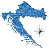 Poster 50 x 50 cm: Karte Kroatien von Editors Choice -