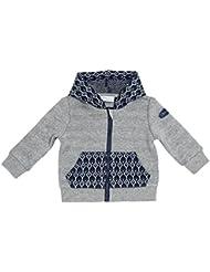 Chicco Baby Jungen Sweatjacke grau-blau gemustert an der Kapuze und Taschen