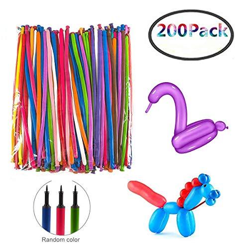 Herefun 200 Pcs Magic Luftballons mit Luftpumpe (zufällige Farbe) - Lange Deko Ballon DIY Ballon Tierballons Mehrfarbenballons für Kindergeburtstag Party Hochzeit Dekoration