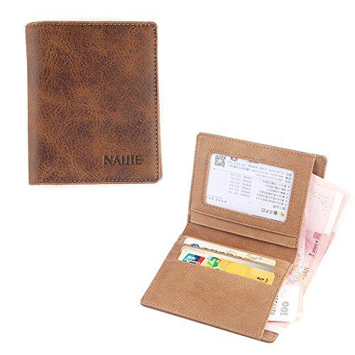 RETON Herren Vintage Leder Handtasche Durable Slim Business Multi-Card Wallet (Vertikal) (Wallet Card Leder Business)