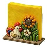 Thun Arredo Casa Portatovaglioli con Gallo e Fiori, Ceramica, Multicolore, 19.2 x 8.62 x 15 cm