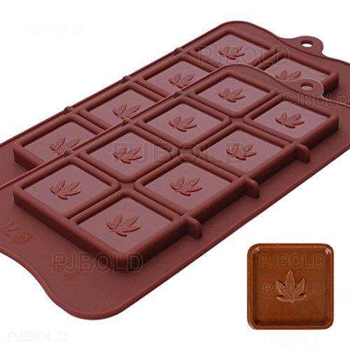 Marijuana Leaf Chocolate Bar Silikon Candy Form Schalen, 2Stück
