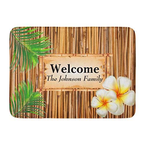 Kinhevao Bad Matte Holz Tropische Tiki Bambus Design Strand Sommer Palm Blätter Badezimmer Dekor Teppich
