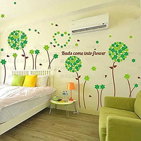 Romantique fleurs 3D Crystal Stereo Wall Stickers Relief Living Room TV Fond Wall Stickers Décorations murales , green , medium