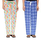 #6: Livzing Girls 100% Cotton Night Track Pant Blue, White Pack of 2