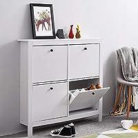 Targos 4 Drawer Shoe Storage Cabinet Shoe Organiser Home Hallway Storage, 107 x 22 x 102cm - Black, Wood