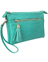 Wu021 Women Large Envelop Clutch Bag Faux Leather Crossbody Messenger Chain Strap (Turquoise) By Solene