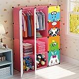 Koossy Erweiterbares Kinderregal Kinder Kleiderschrank Stufenregal Bücherregal 12 Fächer Spielzeugschrank für Arbeitszimmer und Kinderzimmer, 106 x 35 x 147 cm Rosa