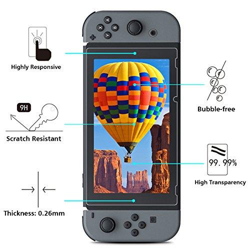 [2 Unidades] Nintendo Switch Protector de pantalla OMOTON 9H Dureza Anti aceite Anti arañazos Sin Burbujas Cristal Templado Nintendo Switch Garantía de por Vida.