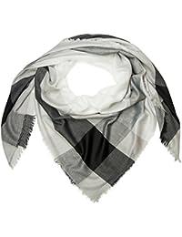 styleBREAKER foulard XXL avec imprimés carreaux et rayures, franges sur le  rebord, écharpe, tissu, femme 01016130, couleur Bleu foncé… 1e46d98ca5f