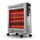 LCC Appareil de Chauffage à Quartz, 4 Niveaux de Puissance avec 9 ailettes, 2400W radiateur, Chauffage électrique, Ventilateur Mobile, contrôle en continu de la température