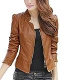 #6: Banggood Lady Stand Collar Long Sleeve Stylish Imitation Leather Jacket