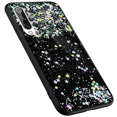 MoreChioce kompatibel mit Xiaomi 9 Hülle,kompatibel mit Xiaomi 9 Glitzer Handyhülle,Kreativ Schwarz Dot Bling Paillette Strass Silikonhülle Schutzhülle Kristall Flexible Bumper - Bling Dots