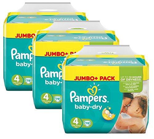 Preisvergleich Produktbild Pampers Baby Dry Größe 4 Maxi 7-18kg Jumbo Plus Pack, 3er Pack (3 x 78 Windeln )