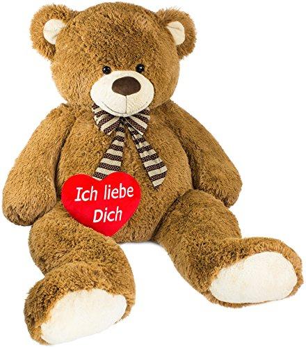 (Brubaker Riesiger XXL Teddybär 150 cm groß Braun mit Einem 'Ich Liebe Dich' Plüschherz)
