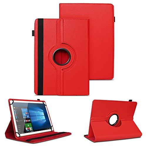 NAUC XORO PAD 9W4 PRO Universal Tablet Schutzhülle hochwertiges Kunst-Leder Hülle Tasche Standfunktion 360° Drehbar Cover Case, Farben:Rot