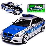 Welly BMW 3er E90 Limousine Polizei Deutschland 2005-2012 1/24 Modell Auto mit individiuellem Wunschkennzeichen