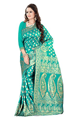 Shree Sanskruti Women's Georgette Saree With Blouse Piece (Sweetyrama_Rama Green)