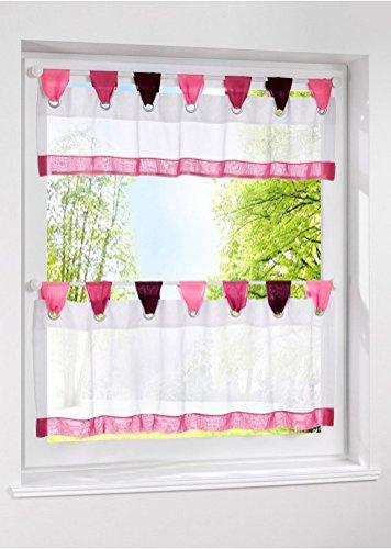 livebycare 1Fenster Vorhang Kontingent und Querbehang Tab Top Semi Sheer Fenster Behandlung Voile Tuch Draperie Platten, Polyester, rot, 24\'\'H*47\'\'W