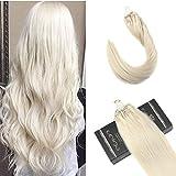Ugeat Dream 16pouces 50Strands Micro Anneau Extensions de Cheveux Humains Couleur # 60 Platine Blonde Micro Boucle Cheveux Extensions Réel Cheveux Humains