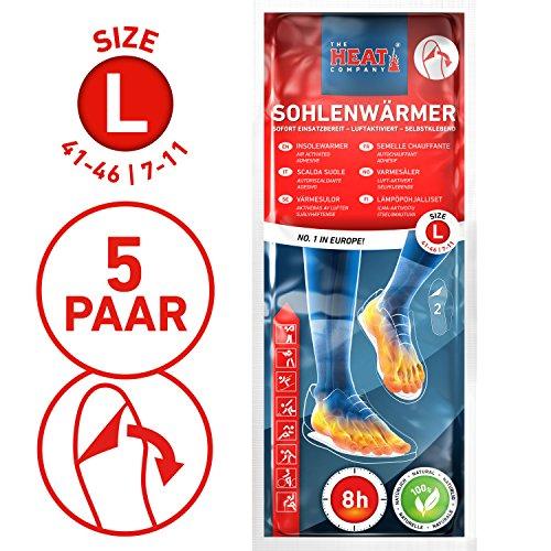 The HEAT company Sohlenwärmer SELBSTKLEBEND 8 Stunden Wärmedauer Wärmesohle Fußwärmer Schuhheizung Fußheizung, LARGE, Grösse 41-46; 5 Paar