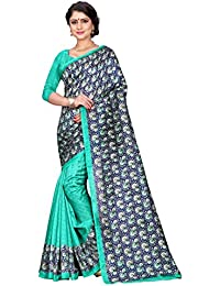 Sugathari Sarees Women's Blue And Green Mysore Bhagalpuri Art Silk Saree