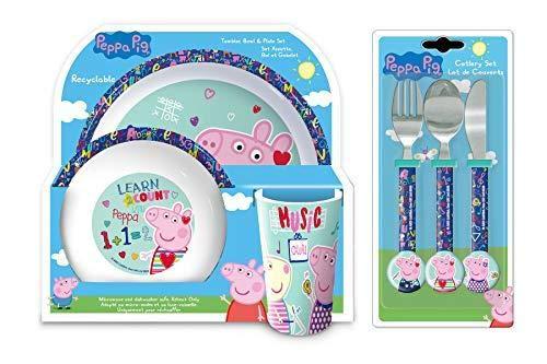 Peppa Pig - Juego de cubiertos y cena de 6 piezas, vaso, tazón, plato, cuchillo, tenedor y cuchara