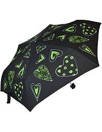 Everyday–Pequeñas bolso paraguas Mujer–Corazones (verde negro)