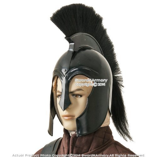 Black Trojan 300 Spartan Greek Troy Helmet With Liner & Feder Kostüm Armor By Nauticalmart