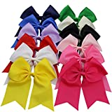 QtGirl 12 pcs 18cm Mix Colors Large Cheer Bows Hair Clips for Baby Girls Teens
