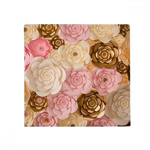 DIYthinker braun weiß pink schönen Blumen Anti-Rutsch Boden Pet Matte quadratisch Badezimmer Wohnzimmer Küche Tür 60/50cm Geschenk, Gesponnenes Polyester, mehrfarbig, 60X60cm (Blumen-boden-matte)