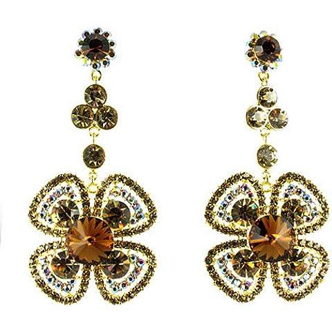 Colore: marrone con fiore placcato in oro, con strass e orecchini - Orecchini Strass Clip Ons