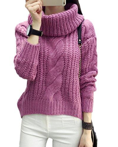 Minetom Damen Winter Warmer Rollkragen Strickjacke Mohair Lose Pullover Langarm Strickwaren Tops Sweater Rose One Size - Mohair Rollkragen Pullover