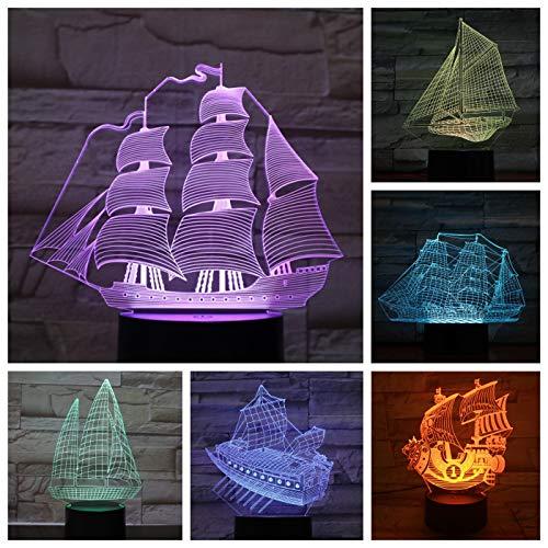 Segelboot LED Nachtlicht Dekoration 3D Illusion Kind Kind Baby Nachtlicht Geschenk Altes Boot Tischlampe Schlafzimmer Retro Boot