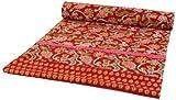 Guru-Shop Blockdruck Tagesdecke, Bett & Sofaüberwurf, Handgearbeiteter Wandbehang, Wandtuch - rot Blumen, Baumwolle, Größe: Single 150x200 cm, Bettüberwurf, Sofa Überwurf