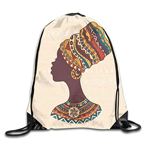 HLKPE Drawstring Backpacks Bags Daypacks,African Woman In Traditional Ethnic Fashion Dress Portrait Glamour Graphic,5 Liter Capacity Adjustable for Sport Gym Traveling