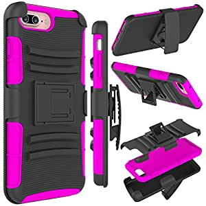iPhone 7 Plus Case, Zenic(TM) Hybrid Dual Layer Armor Defender Full-body Protective Case Cover with Kickstand & Belt Clip Holster Combo for iPhone 7 Plus (5.5 inches) (Rose)
