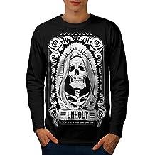 wellcoda unheilig Rose Tod Schädel Männer S-2XL Langarm T-Shirt
