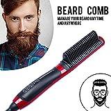 Barbe Lisseur Peigne, lesgos électrique Curling Hair Curling Brush Brosse à cheveux ionique à double usage céramique anti-brûlure pour tous les types de cheveux