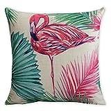 Americana Cuscino Flamingos e foglia di palma arte moderna in cotone e lino federa cuscino decorativo cuscini Home Decor divano tiro copertura del cuscino 45 x 45 cm immagine