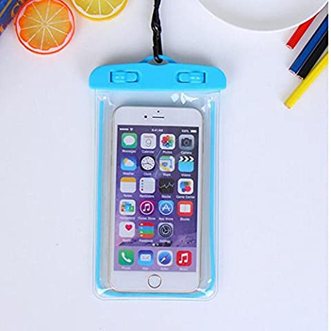 For Imperméable Phone Case,Maetek PVC Lumineux Case Cover Imperméable Cell Phone Sac à sac sec for Smartphone up to 6 inches-Blue