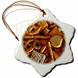 3dRose orn_31121_1 Snack Mix Snowflake Porcelain Ornament, 3-Inch