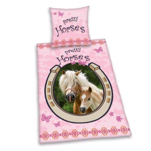 445177050 Bettwäsche Young Collection Pferd, Kopfkissenbezug 80 x 80 cm und Bettbezug 135 x 200 cm, 100 % Baumwolle, Renforce